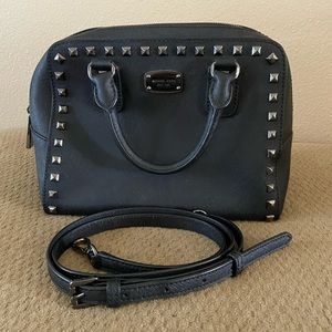 Michael Kors black satchel gunmetal studded